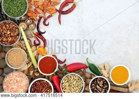 Herb and spice seasoning abstract border with fresh and dried herbs and spices on mottled grey background with copy space. Top view.