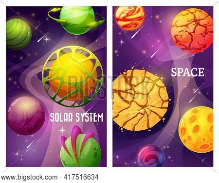 Fantasy Space Galaxy, Cartoon Vector Alien World Planets With Stars And Satellites. Planets With Cra