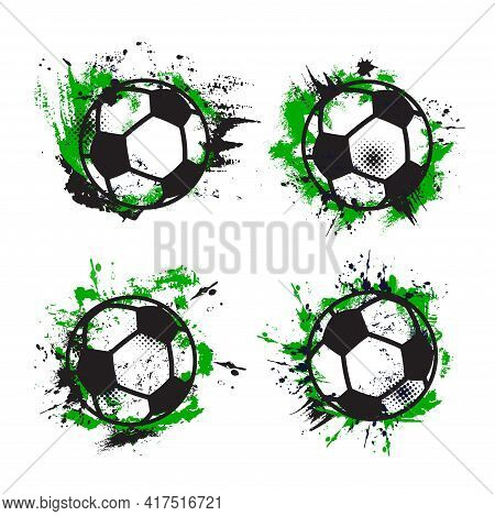 Soccer Or Football Sport Balls. Vector Grunge Banners Of Green And Black Halftone Pattern, Paint Spl