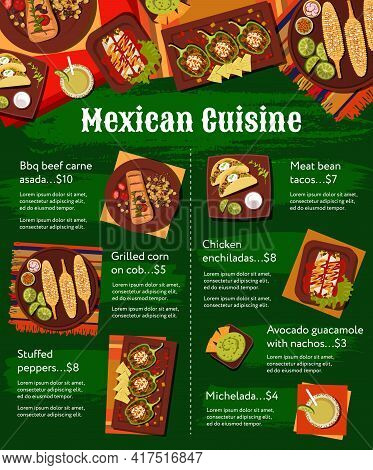 Mexican Cuisine Meals Menu Vector Template. Carne Asada Beef, Meat And Bean Tacos, Michelada Cocktai