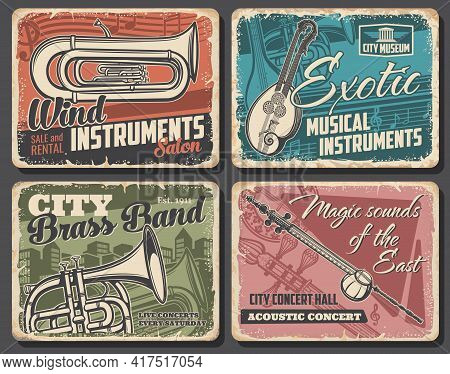 Music Instruments And Live Acoustic Concert Vector Retro Posters. Euphonium And French Horn, Double
