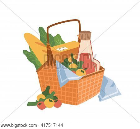 Basket With Picnic Products Isolated Flat Cartoon Icon. Vector Food And Drinks, Cheese And Bread, Sa