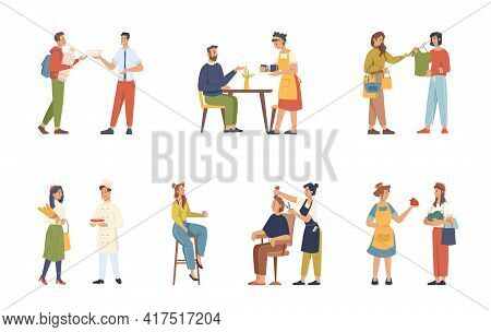 Clients And Servants, Buyers And Sellers, Consultants Isolated Flat Cartoon People Set. Vector Shop