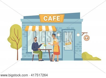 Street Cafe, Client Man Sitting And Woman Waiter Serving Order, Flat Cartoon Illustration. Vector Su