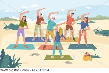 Group Fitness Outdoor Class On Beach, Summer Sport Activities. Vector Yoga Exercise On Fresh Air, Me