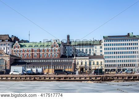 Helsinki, Finland - March 11, 2017: View Of Colorful Buildings In The South Harbour On A Sunny Day