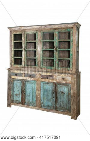 Vintage Grungy Wooden Cabinet Isolated On White Background