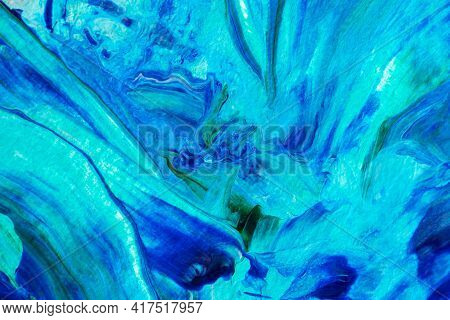 Abstract Blue Sea Background With Acrylic Paint. Summer Art Background. Natural Blue-turquoise Wave