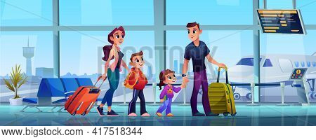 Traveling Family And Airport, Mother, Father And Children With Luggage In Airport Terminal. Vector P