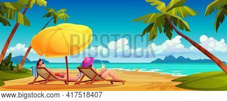 People Sunbathe On Summer Beach, Cartoon Couple Lying On Chaise Lounges Under Umbrella On Ocean Or S
