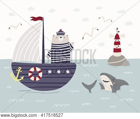 Cute Bear Sailor On A Ship, Sailboat, Shark, Lighthouse. Childish Sea, Ocean Landscape. Hand Drawn V