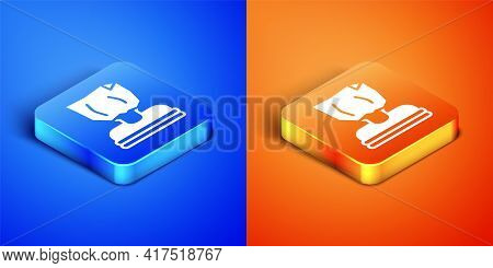 Isometric Kidnaping Icon Isolated On Blue And Orange Background. Human Trafficking Concept. Abductio