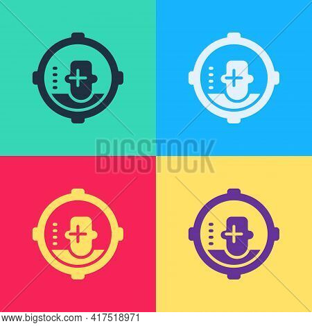 Pop Art Headshot Icon Isolated On Color Background. Sniper And Marksman Is Shooting On The Head Of M