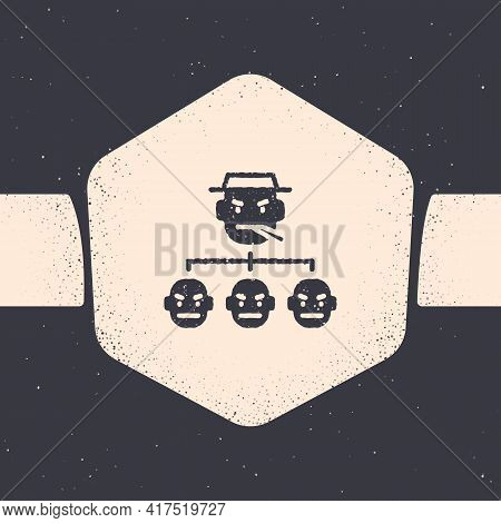 Grunge Mafia Icon Isolated On Grey Background. Boss And Gangsters. Monochrome Vintage Drawing. Vecto