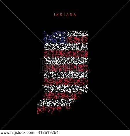 Indiana Us State Flag Map, Chaotic Particles Pattern In The Colors Of The American Flag. Vector Illu