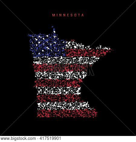 Minnesota Us State Flag Map, Chaotic Particles Pattern In The Colors Of The American Flag. Vector Il