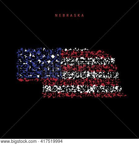 Nebraska Us State Flag Map, Chaotic Particles Pattern In The Colors Of The American Flag. Vector Ill