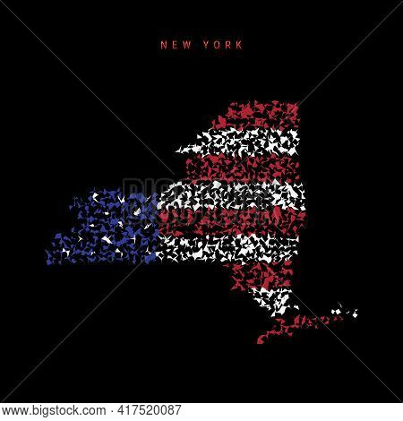 New York Us State Flag Map, Chaotic Particles Pattern In The Colors Of The American Flag. Vector Ill