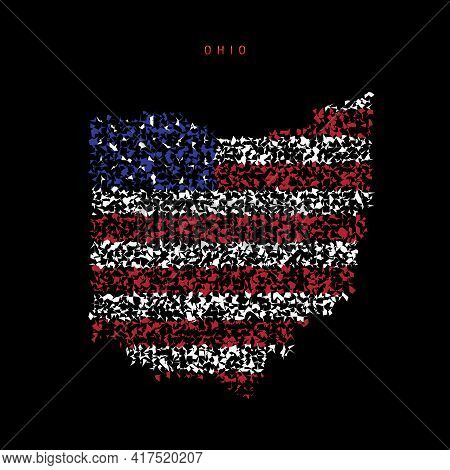 Ohio Us State Flag Map, Chaotic Particles Pattern In The Colors Of The American Flag. Vector Illustr