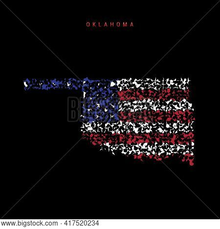 Oklahoma Us State Flag Map, Chaotic Particles Pattern In The Colors Of The American Flag. Vector Ill
