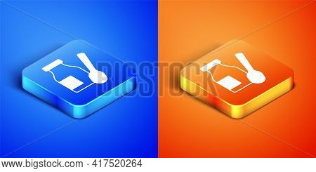Isometric Drinking Yogurt In Bottle With Spoon Icon Isolated On Blue And Orange Background. Square B