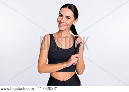 Photo Of Happy Smiling Lovely Pretty Sportive Woman With Thin Slender Fit Figure Body Shape Isolated