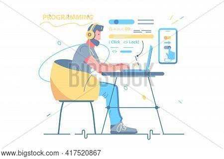 Man Developer Coding And Chatting By Laptop Vector Illustration. Guy Freelancer And Program Code Fla