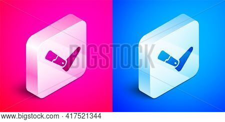 Isometric Prosthesis Leg Icon Isolated On Pink And Blue Background. Futuristic Concept Of Bionic Leg