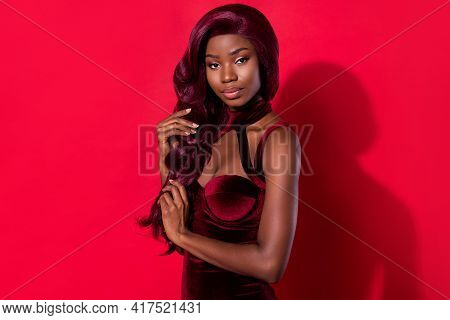 Profile Side Photo Of Young Attractive Charming African Girl Look Gorgeous Fancy Isolated Over Red C