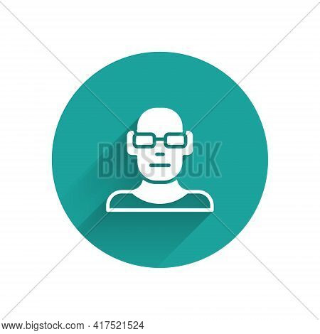 White Poor Eyesight And Corrected Vision With Optical Glasses Icon Isolated With Long Shadow. Green