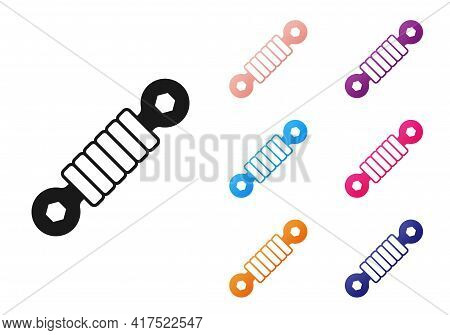 Black Shock Absorber Icon Isolated On White Background. Set Icons Colorful. Vector
