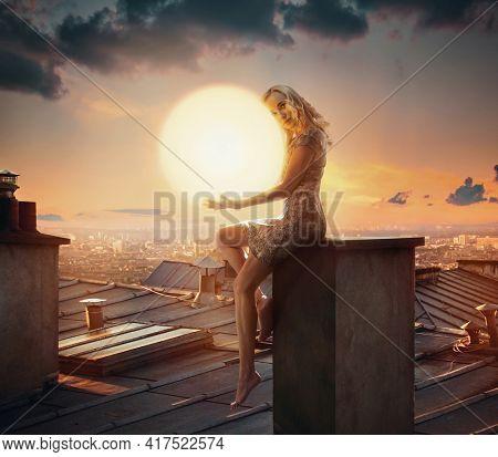 Art fine photo of a woman hugging sun