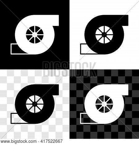 Set Automotive Turbocharger Icon Isolated On Black And White, Transparent Background. Vehicle Perfor