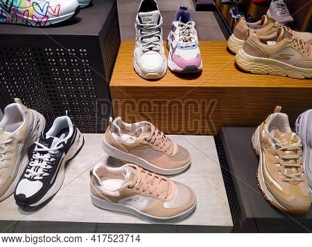 Kiyv, Ukraine - August 30, 2020: Skechers Shoes At The Shop At Shopping Mall. Skechers Is An America