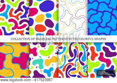 Collection Of Vector Seamless Colorful Abstract Patterns With Creative Shapes. Paint Backgrounds. Dr