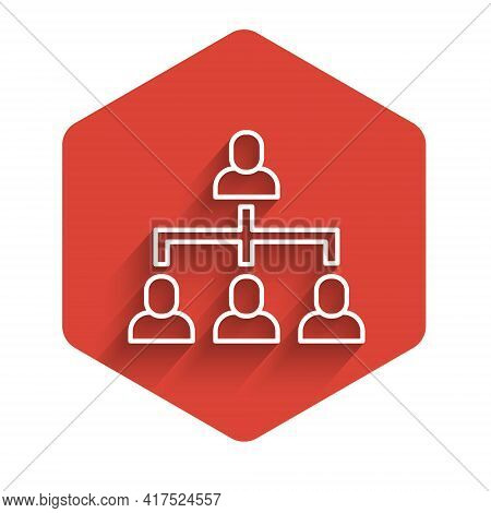 White Line Business Hierarchy Organogram Chart Infographics Icon Isolated With Long Shadow. Corporat