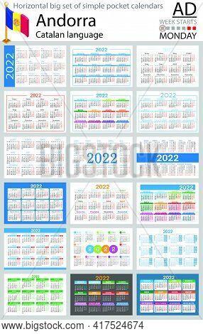 Catalan Horizontal Big Set Of Pocket Calendars For 2022 (two Thousand Twenty Two). Week Starts Monda