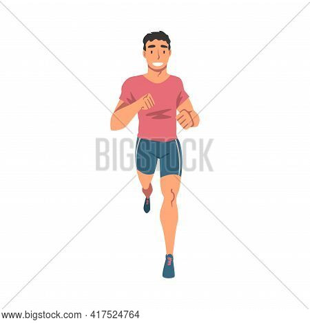 Cheerful Running Man, Male Athlete In Sports Uniform Running Marathon, Training, Jogging, Doing Morn