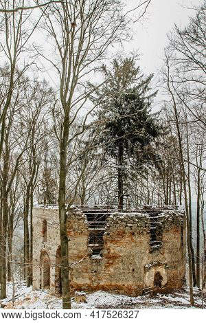 Ruins Of Chapel Of Saint Mary Magdalene On The Hill Of Maly Blanik, Central Bohemia, Czech Republic.