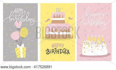 Happy Birthday Greeting Card Or Party Invitation Set. Tasty Cakes And Giftbox On Ballons. Flat Carto
