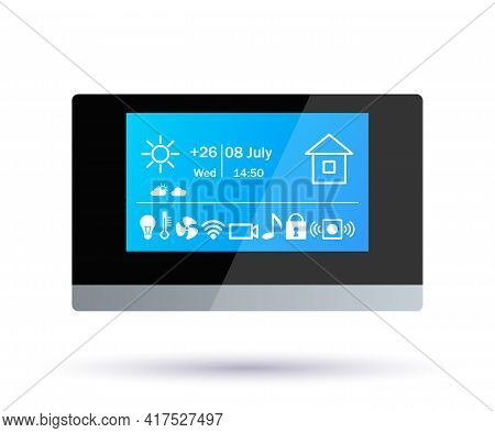 Smart Home Control Panel. Application Icons. Climate Control, Alarm, Music, Security, Video Surveill