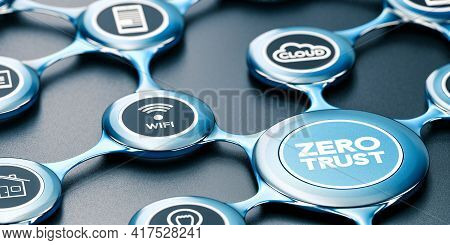 3d Illustration Of A Blue Network With Icons And The Text Zero Trust Written On The Front. Black Bac
