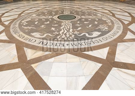 Montserrat, Barcelona - Spain. July 15, 2020: Mosaic Floor At The Entrance To Basilica In The Benedi