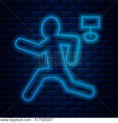 Glowing Neon Line Murder Icon Isolated On Brick Wall Background. Body, Bleeding, Corpse, Bleeding Ic