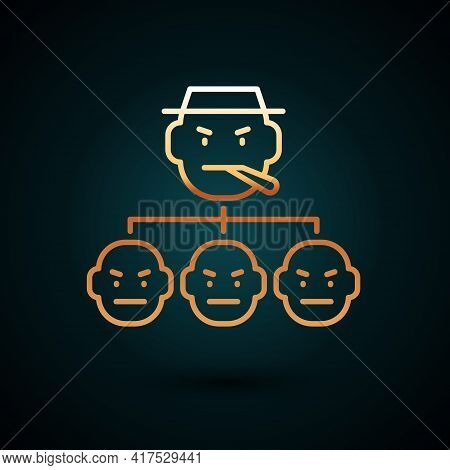 Gold Line Mafia Icon Isolated On Dark Blue Background. Boss And Gangsters. Vector