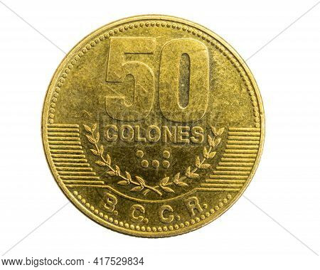 Costa Rica Fifty Colones Coin On A White Isolated Background