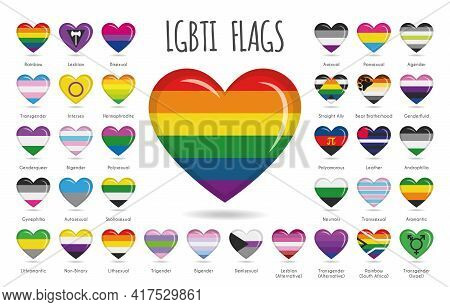 Set Of 34 Heart Shaped Designs With The Lgbtiq, Sexual And Gender Tendencies Pride Flags Vector Illu