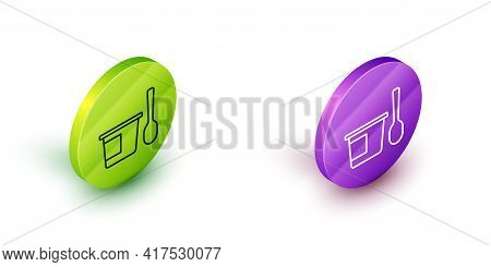 Isometric Line Yogurt Container With Spoon Icon Isolated On White Background. Yogurt In Plastic Cup.