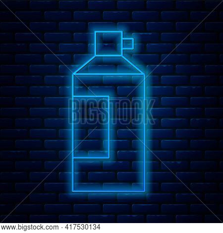 Glowing Neon Line Whipped Cream In An Aerosol Can Icon Isolated On Brick Wall Background. Sweet Dair