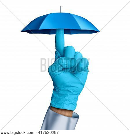 Medical Disease Prevention As A Doctor Holding An Umbrella Representing Protection From Illness And